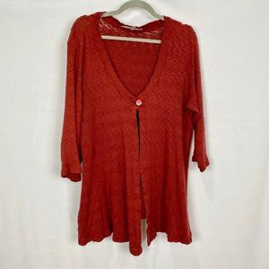 FLAX Women's Cardigan Sweater Burgundy Cotton Top